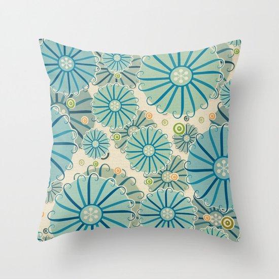 Retro Crazy Flowers Throw Pillow