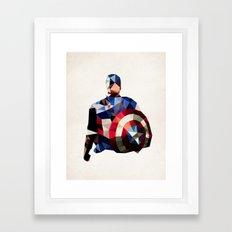 Polygon Heroes - Captain America Framed Art Print