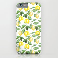 Modern green yellow watercolor lemon summer fruit Slim Case iPhone 6s