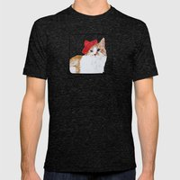 Red Hat Cat  Mens Fitted Tee Tri-Black SMALL