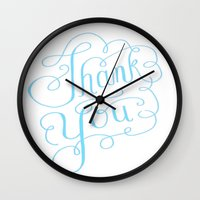 Thank you Hand Lettered Calligraphy Wall Clock