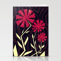 Red Flowers On Wood Stationery Cards