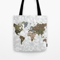 CAMO WORLD ATLAS MAP (WHITE) Tote Bag