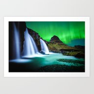 Aurora Borealis Waterfal… Art Print