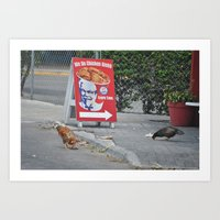 Chicken Right? Wrong! Art Print