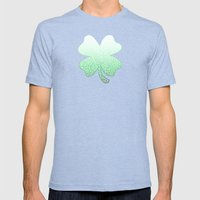 Gradient green and white swirls doodles Mens Fitted Tee Tri-Blue SMALL