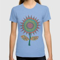 Fabby Flower-Eden colors Womens Fitted Tee Tri-Blue SMALL