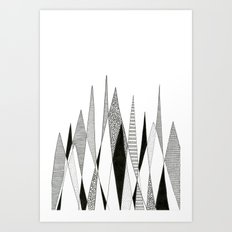 Spikes and Pines (pen on paper) Art Print