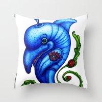 Dolphin Blue Throw Pillow