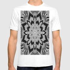 Mandala: Black Gray White Flower Mens Fitted Tee SMALL White