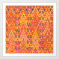 Recursive Triangles Warm Art Print