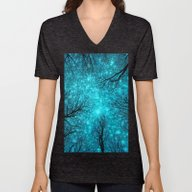 Unisex V-Neck featuring Black Trees Teal Space by 2sweet4words Designs