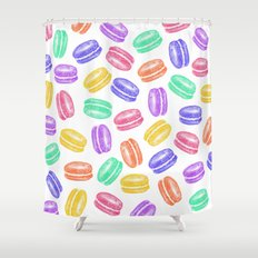 Colorful Hand Painted Watercolor Macaroon Cookies Shower Curtain