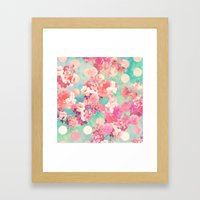 Romantic Pink Retro Floral Pattern Teal Polka Dots  Framed Art Print