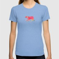 Baer  With Flowers I Womens Fitted Tee Tri-Blue MEDIUM