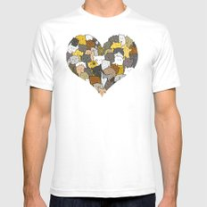I Love Cats Mens Fitted Tee White SMALL