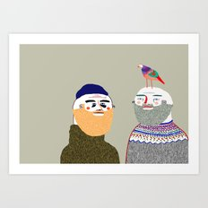 Friends and Bird. People illustration, funny, beard art, beard illustration, people,  Art Print