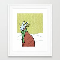 winter jackalope. Framed Art Print