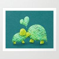 Turtle Hugs Art Print
