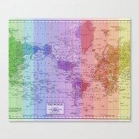 Rainbow World Map II Canvas Print
