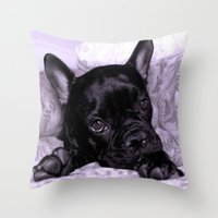 Purple Frenchie Throw Pillow