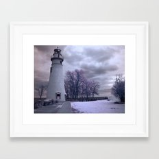 Infrared Lighthouse Framed Art Print