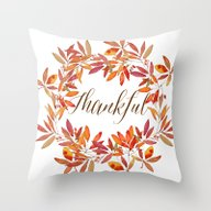 Throw Pillow featuring Thankful Wreath  by Craftberrybush