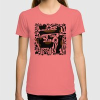 GARDEN DOGS Womens Fitted Tee Pomegranate SMALL