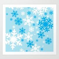Blue Snowflakes Art Print