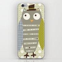 Grey Whimsy Owl iPhone & iPod Skin