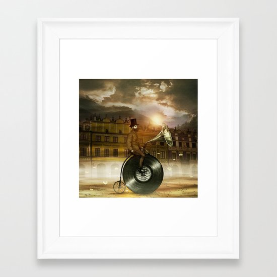 Music Man in the City, by Eric Fan and Viviana González Framed Art Print