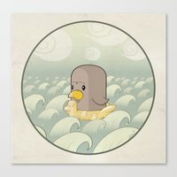 Chick Across the Sea Canvas Print