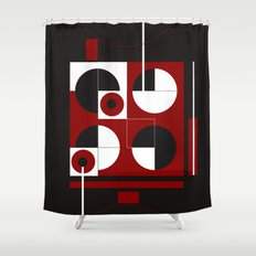 Geometric/Red-White-Blac… Shower Curtain
