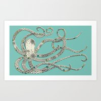 Green Octopus Art Print