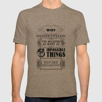 Alice in Wonderland Six Impossible Things Mens Fitted Tee Tri-Coffee SMALL