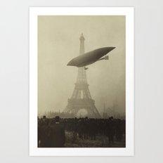 Airship near the Eiffel Tower Art Print