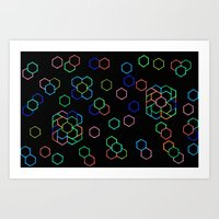 Hexagon Darkness Art Print