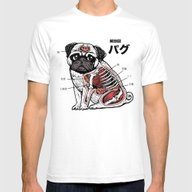 Pug Anatomy Mens Fitted Tee White SMALL