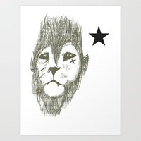 Punkster Lion *remade for tshirts* Art Print