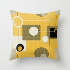 Orbs And Square Gold Yel… Throw Pillow