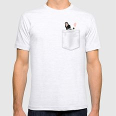 Pocket French Bulldog - Pied SMALL Mens Fitted Tee Ash Grey