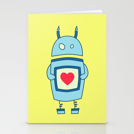 Cute Clumsy Robot With Heart Stationery Card