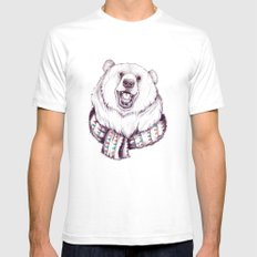 Bear & Scarf Mens Fitted Tee White SMALL