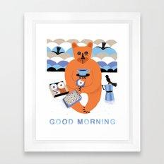 Good morning Bear Framed Art Print