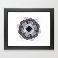Patchwork Tiles III (monochrome flowers) Framed Art Print