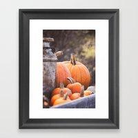 Pumpkins + Milk Cans Framed Art Print