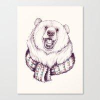 Bear & Scarf Canvas Print
