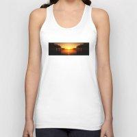 Pier Mirrored Sunset Unisex Tank Top