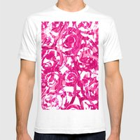 abstract pink floral Mens Fitted Tee White SMALL