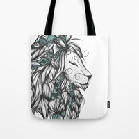 Poetic Lion Turquoise Tote Bag